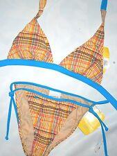 SPEEDO  two piece  tan with blue plaid Bikini Swimsuit SMALL
