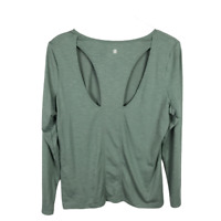 Z By Zella Cut-Out Back Tee Shirt Size L Green Long Sleeve Scoop Neck Athletic