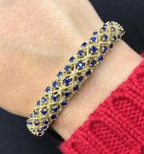 925 Sterling Silver Handmade Authentic Turkish Sapphire Bracelet Bangle Cuff