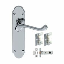 3 Sets Epsom Style Victorian Door Handles Hinges and Latches - Polished Chrome
