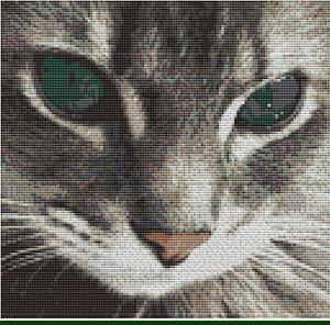 CROSS STITCH KIT -TABBY CAT FACE 23 X 23 CM
