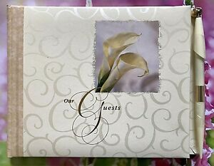 "HALLMARK 9.5""x7.25"" Ivory Wedding Guests Register With Pen ~ Calla Lilies"