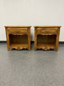 Ethan Allen Country French Birch Nightstands Side Tables w/ 1 Drawer Fruitwood