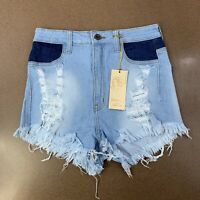 Aphrodite Womens Size Large(30) Light Wash Distressed High Waist Jean Shorts NWT
