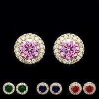 2CT Halo Gemstone Created Diamond Earrings Real 14K Gold Birthstone Round Studs