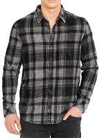 Buffalo David Bitton Mens Shirt Black Size Small S Plaid Button Up $79 #027