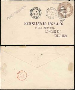 MARITIME 1895 US GERMAN SEA POST + SOUTHAMPTON PACKET LETTER + FURST BISMARCK