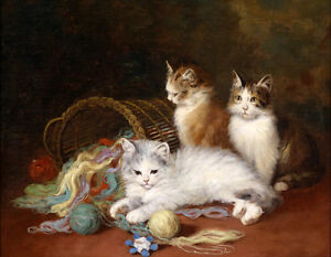 """Hand painted oil painting lovely animals cats kittens Line Mission basket 36"""""""