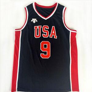 Retro #9 Jordan 1984 LA USA Team Jerseys Stitched Hip Hop Rap Streetball S-XXXL