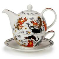 "Commical ""Pussy Galore' Cat Kitten Fine Bone China Tea For One Teapot Cup Saucer"