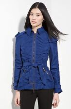 $850 Burberry London Ruched Taffeta Moto Jacket Hooded Belted Coat Sapphire Sz 4