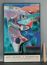 1988 Vintage David Hockney Metropolitan Museum Exhibition Poster, Nichols Canyon