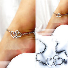 Fashion Sexy Double Heart Love Chain Beach Sandal Anklet foot Ankle Bracelet