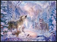 Snow Landscape Wolves - Chart Counted Cross Stitch Pattern Needlework Xstitch