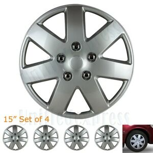 """[Set of 4] Volkswagen 15"""" OTTO Snap/Clip-on Wheel Covers Tire Rim Hubcaps Silver"""