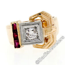 Vintage Retro 14K Yellow Gold .66ct Diamond & Baguette Ruby Milgrain Buckle Ring