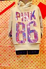 Victorias Secret Pink HEAVY FUR Hoodie Bling SILVER Pink 86  NWT soldout LIMITED