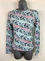 WOMENS FRENCH CONNECTION BLUE FLORAL PATTERN CASUAL LONG SLEEVE T SHIRT SIZE M