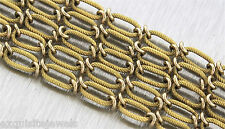 Vintage Antique Ladies 14K Yellow Gold Fancy Textured Cable Link Chain Necklace