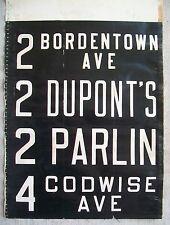 1940s Public Service New Jersey Bus Vellum Side Sign DUPONT CHEMICAL Old Bridge