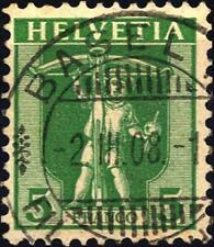 """SVIZZERA - 1907 - Guglielmo Tell e """"Helvetia"""" - 5 c. verde"""