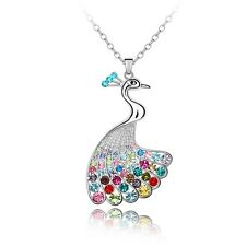 18K White Gold GP Made With Swarovski Crystal Colorful Peacock Long Necklace