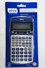 ATIVA FINANCIAL CALCULATOR MODEL AT-10 SILVER & BLUE NEW - Free 2-3 Day Shipping
