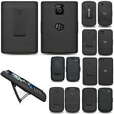 RUBBERIZED HARD CASE COVER + BELT CLIP HOLSTER STAND FOR BLACKBERRY PHONE