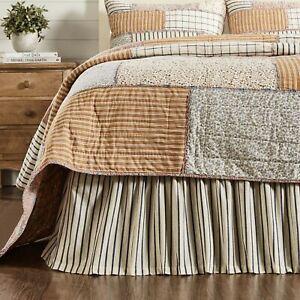 VHC Kaila Navy Creme Stripe Cotton Country Farmhouse Bed Skirt