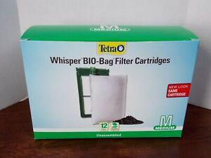 TETRA WHISPER BIO-BAG FILTER CARTRIDGES - 12 PACK MEDIUM - UNASSEMBLED