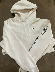 Champion Women's White Crop Top Logo Hoodie Women's Size Large