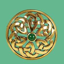 Irish Scottish Celtic Gold Knotwork Brooch - Kilt  Dancing Pin - Green Agate