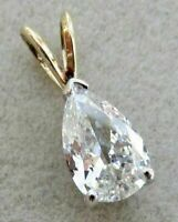 14K Yellow Gold Over 2.00 Ct Pear Cut Diamond Solitaire Pendant Charm Necklace