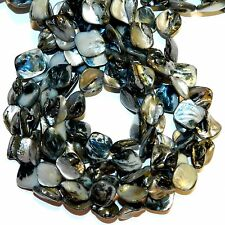 MPX1111L 10-Strands Black Mother of Pearl 16mm - 25mm Diamond Nugget Shell Beads
