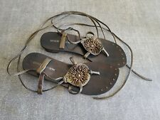 Chinese Laundry size 5.5 metallic gold / brown leather beaded long lace sandals