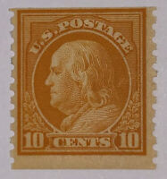 Travelstamps:1916-1922 US Stamps Sc #497 Yellow 10¢ NoWM Coil Single Mint Og Mnh