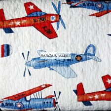 AIRPLANES SKY HAWK ~ 5pc TWIN AIRPLANE QUILT ~  RED BLUE AIRPLANE SHEETS JETS