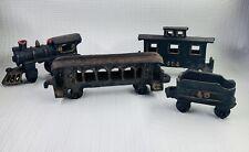 Vintage Cast Iron Train Locomotive Passenger Cars Coal Cart 4 Pcs. 40-403–404-40