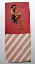 1940s Pin Up Girl Picture Blotter by Al Buell Gal Darn It Brunette in Pantyhose