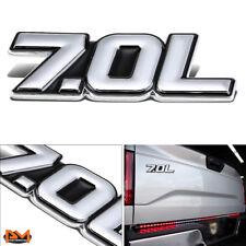 """""""7.0L"""" Polished Metal 3D Decal Silver&Black Emblem For Chevrolet/Saleen/Ford"""