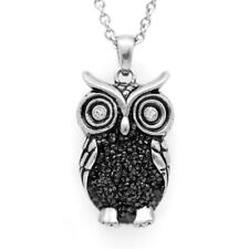 Night Bright Owl Necklace Bird Pendant w. Swarovski Crystals 3D Jewelry Controse
