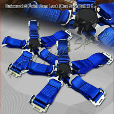 2 X Universal JDM 5-Point Cam Lock Blue Nylon Safety Harness Racing Seat Belt