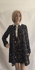 ZARA BLACK PATCH PRINTED LONG SLEEVES FLOWING SHIRT DRESS SIZE XS