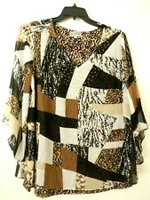 JM COLLECTION WOMAN 2X Black White Brown Lined Animal Print Embellished Top