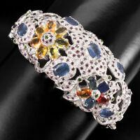 Oval 7x5mm Sapphire Rhodolite Garnet Chrome Diopside 925 Sterling Silver Bangle