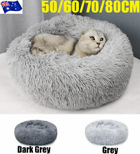 Pet Dog Cat Calming Bed Warm Soft Plush Round Nest Comfy Sleeping Kennel Cave