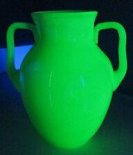 Large Vaseline/Uranium Green Glass Vase/Jug with Handles Opaline Primitive