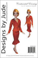 "Continental Evening Doll Clothes Sewing Pattern for 22"" American Model Tonner"