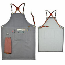Gray Denim Bib Apron w/Leather Strap Barista Baker Bartender Bbq Chef Uniforms