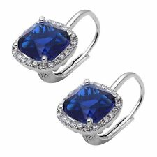 Cushion Cut Blue Sapphire and Cubic Zirconia .925 Sterling Silver Earring